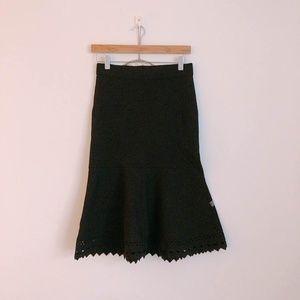 Ann Taylor Black Stretch Midi Skirt